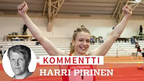 Pikajuoksija Lotta Kemppinen tuuletti mestarina.