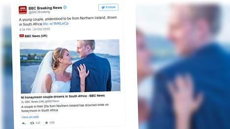 Irlantilaispariskunta hukkui häämatkallaan Etelä-Afrikassa.