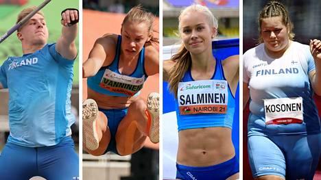 Nuorten yleisurheilun MM-kisojen mitalisaalis viime viikolla oli suomalaisittain ennätyksellinen. Kultaa vuolivat Janne Läspä (vas.), Saga Vanninen, Heidi Salminen ja Silja Kosonen.
