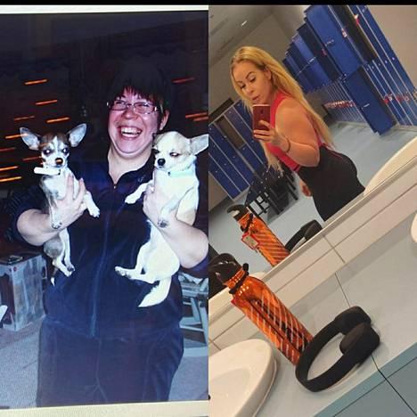 Susanne Leinonen kuvassa vasemmalla vajaat kymmenen vuotta sitten ja oikealla tänä kesänä.
