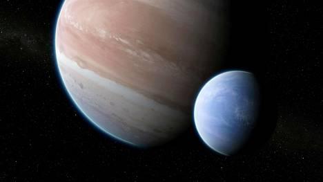 Taiteilijan näkemys Kepler-1625b-eksoplaneetasta ja sitä kiertävästä kuusta.