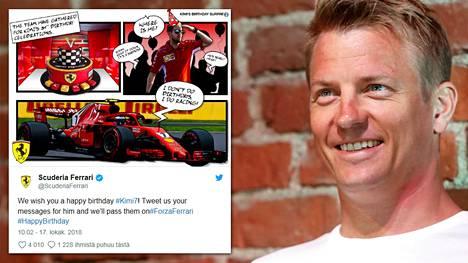 Ferrari onnitteli 39 vuotta täyttänyttä Kimi Räikköstä sarjakuvalla – puhekuplat saavat hymyn huulille