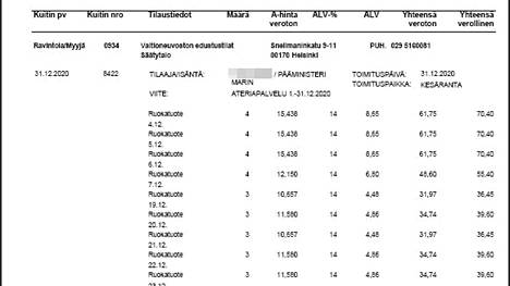 Valtioneuvoston kanslian aterialaskuissa viitataan vain ruokatuotteisiin. Kuvassa viime joulukuun lasku.