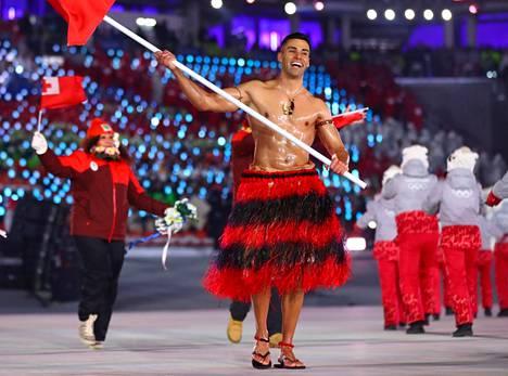 Pita Taufatofua Etelä-Korean talviolympialaisten avajaisissa vuonna 2018.