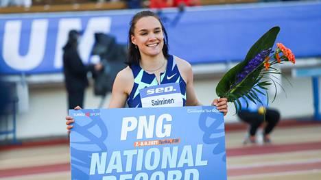 Senni Salminen teki uuden kolmiloikan naisten Suomen ennätyksen 14,51 Paavo Nurmi Gamesissa Turussa.