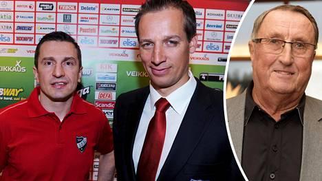 Ville Peltonen ja Curt Lindstöm lähettivät Antti Törmäselle rohkaisevia terveisiä.