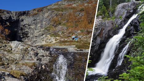Tuomo Kesäläisen uutuuskirja Suomen upeimmat luontokohteet listasi maamme hienoimmat vesiputoukset. Kuvassa vasemmalla Kitsiputous ja oikealla Hepoköngäs.