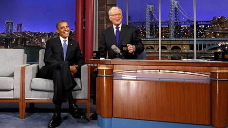 Presidentti Barack Obamakin on vieraillut Lettermanin talk showssa vuonna 2012.