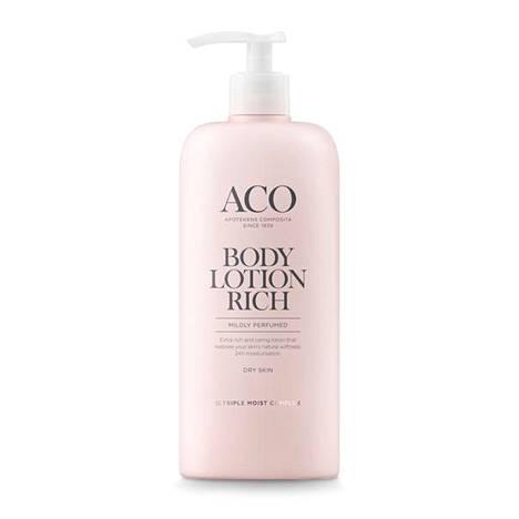 Tämän paketin sisältö tekee saajastaan pehmeän. Aco Body Lotion Rich -vartalovoide kuivalle iholle 13,30 €, apteekeista.