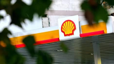 Öljy-yhtiö Shellin logo huoltoasemalla Buenos Airesissa Argentiinassa.