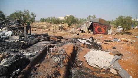 Tulipalojen jäljet olivat näkyvissä al-Baghdadin piilopaikassa.