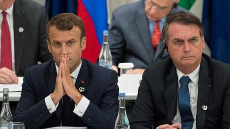 Macron ja Bolsonaro osuivat samaan kuvaan istuessaan vierekkäin Osakan G20-kokouksessa kesäkuun lopulla.