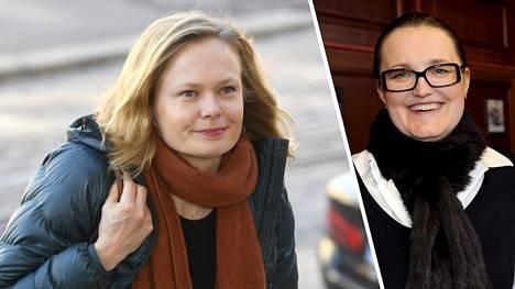 Tiede- ja kulttuuriministeri Hanna Kosonen (vas.) otti kantaa, Mirjami Penttistä (oik.) koskevaan sovintosopimukseen.