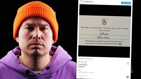 Heikki Kuula julkaisi kuvan kutsustaan Instagramissa perjantaina.