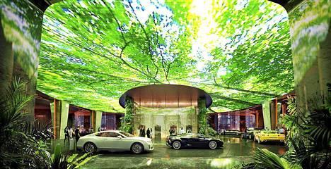 Autot voi parkkeerata viidakko-screenin alle. Hotellin designista vastaa ZAS Architects.