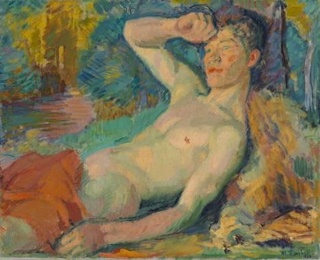 Heräävä fauni (1914) on Magnus Enckellin myöhäisemmän värikauden uusimpressionistinen teos.