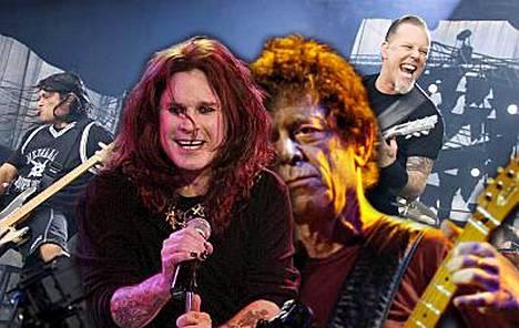 Metallica kiipeää lauteille Ozzyn ja Lou Reedin kanssa.