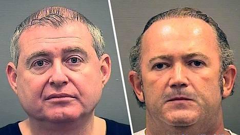 Ukrainalaiset liikemiehet Lev Parnas (vas.) ja Igor Fruman otettiin kiinni Dullesin kansainvälisellä lentokentällä Washingtonissa.