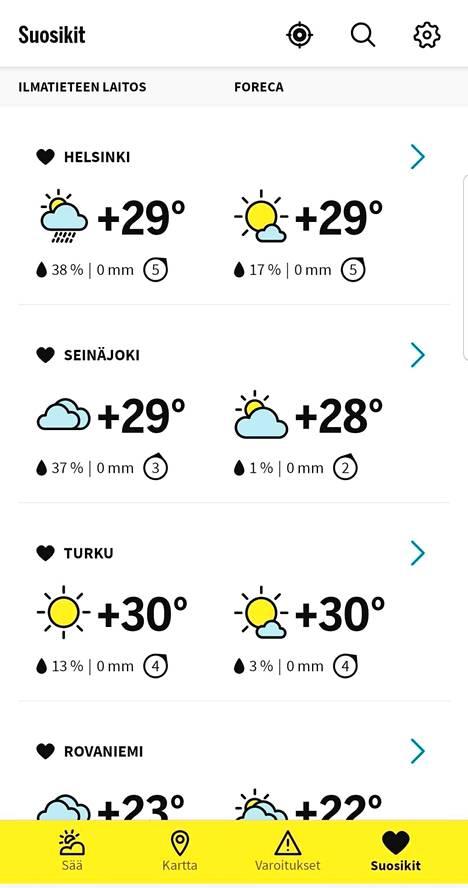 Koti Helsingissä, mökki Seinäjoella, viikonloppuloma Turussa? Suosikkeihin voit tallentaa paikkakuntia, joiden säätä seuraat ahkerasti.