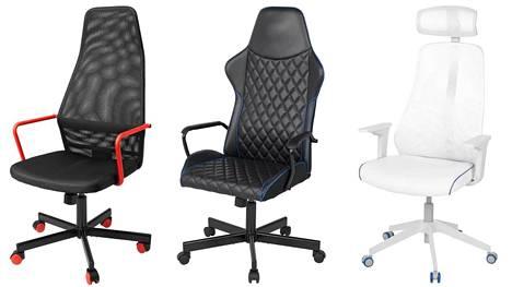 Ikean uusia pelituoleja vasemmalta oikealle: Huvudspelare (budjettimalli), Utespelare Uspe (perinteisempi pelituoli) ja Matchspel (enemmän toimistotuolimainen).