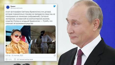 Uutissivusto väittää selvittäneensä Vladimir Putinin salatun tyttären ja tämän äidin henkilöllisyyden. Twiitissä Svetlana Krivonogih näkyy vasemmalla ja tämän Jelizaveta-tytär oikealla.