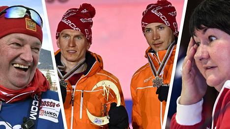 Venäjän hiihtoliiton puheenjohtaja Jelena Välbe (oik.) haukkui päävalmentaja Markus Cramerin (vas.) aikaansaannoksia. Greb Retivyh (toinen oik.) kuuluu Cramerin valmennusryhmään, maailmanmestari Aleksandr Bolshunov taas harjoittelee dopingtuomion saaneen Juri Borodavkon ryhmässä.