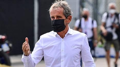 Alain Prost Monzan GP:n varikolla syyskuussa.