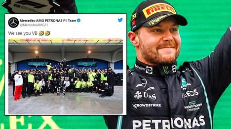 Turkin GP:n voittanut Valtteri Bottas oli juhlatunnelmissa vielä yhteiskuvassakin.
