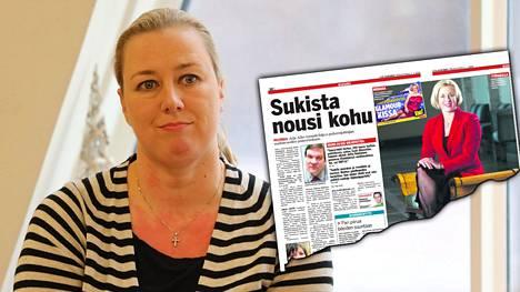 Jutta Urpilainen muisteli verkkosukkahousuista noussutta kohua kirjanjulkistustilaisuudessa maanantaina. IS kertoi sukkahousujen aiheuttamasta paheksunnasta 2.1.2009.