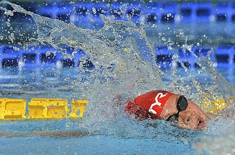 Tanskan Lotte Friis 800 metrin vapaauinnin finaalissa Seven Hills Trophy -kilpailuissa Roomassa Italiassa. Friis voitti kisan ajalla 8:22.10 ennen Etelä-Afrikan Wendy Trottia.