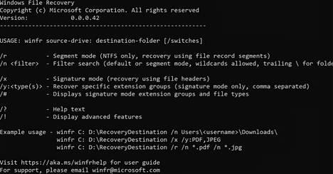 Windows File Recovery tuo mieleen 80- ja 90-luvulla käytetyn dos-käyttöjärjestelmän.