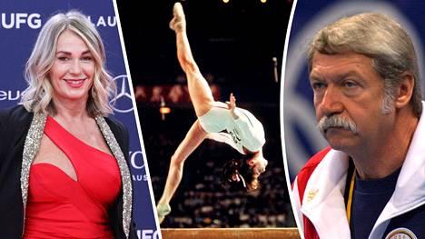Nadia Comaneci vuonna 2019 Laureus-säätiön juhlissa ja vuonna 1976 Montrealin olympialaisten puomilla. Hänen nuoruusvuosiensa valmentajan Bela Karolyin toiminta asettuu entistäkin synkempään valoon uutuuskirjassa.
