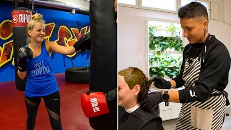Nyrkkeilijä Elina Gustafsson (oik.) hyppää puolisonsa Emmin saappaisiin kampaamoon. Emmi (vas.) puolestaan joutuu treenirääkkiin nyrkkeilysalille.