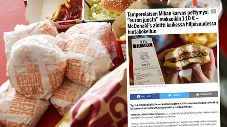 """McDonald's paljastaa listan ravintoloista: Täällä Mäkkärin """"euron juuston"""" ja tuplajuuston hinnat nousivat kaikessa hiljaisuudessa"""