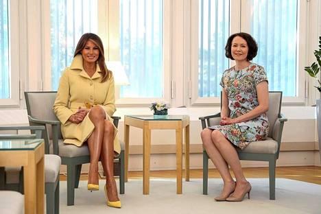 Melania Trump ja Jenni Haukio tapasivat aamiaisen merkeissä.
