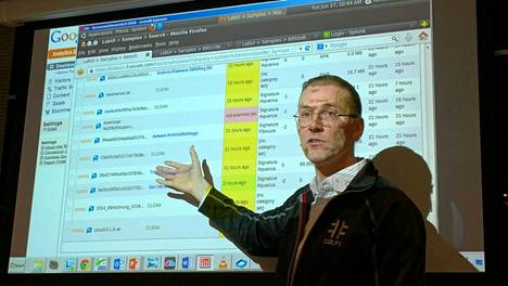 Hyppönen esittelee päivän kuluessa löydettyjä uusia viruksia, joita oli kertynyt 2099 kappaletta.