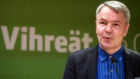 Pekka Haavisto piti avauspuheensa vihreiden puoluevaltuuskunnan kokouksessa Helsingissä.