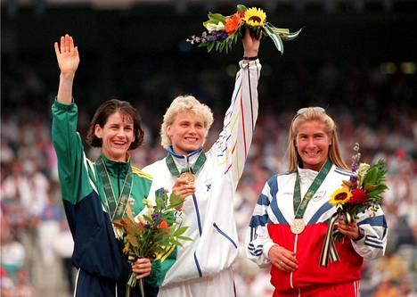 Louise McPaul, Heli Rantanen ja Trine Hattestad muodostivat Atlantan olympiafinaalin mitalikolmikon.