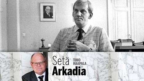 Supon johtaja Seppo Tiitinen työhuoneessaan 1982.
