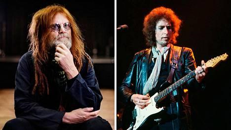 Pelle Miljoona kuvattuna vuonna 2015 ja Bob Dylan vuonna 1987.