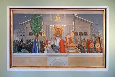 Ellen Thesleffin alkuperäinen Kaiku-teos on usein lainassa näyttelyissä, nyt Helsingin taidemuseossa. Tilalle on ripustettu jäljennös (vas.). Yllä Carl Larssonin Keskitalven yö.