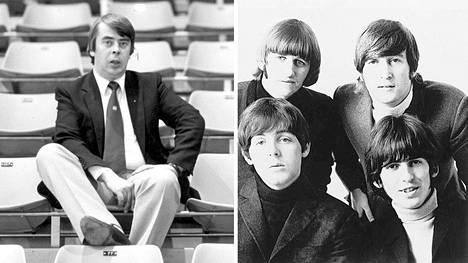 Rokkitähtiys kaatui ohareihin. Vasemmalla silloisen Jääkiekkoliigan ja -liiton toimitusjohtaja Kummola vuonna 1983. Oikealla Beatles vuonna 1965.
