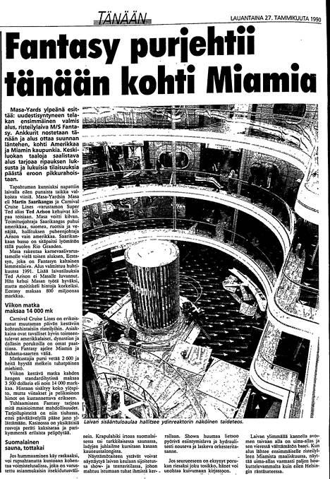 Carnival Fantasyn valmistumista ja matkaanlähtöä seurattiin IS:ssäkin tarkoin vuonna 1990.