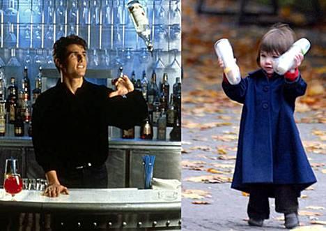 Isä-Tom viskoi pulloja taidokkaasti Cocktail-leffassa. Suri-tytär on selvästi perinyt isänsä taidot.