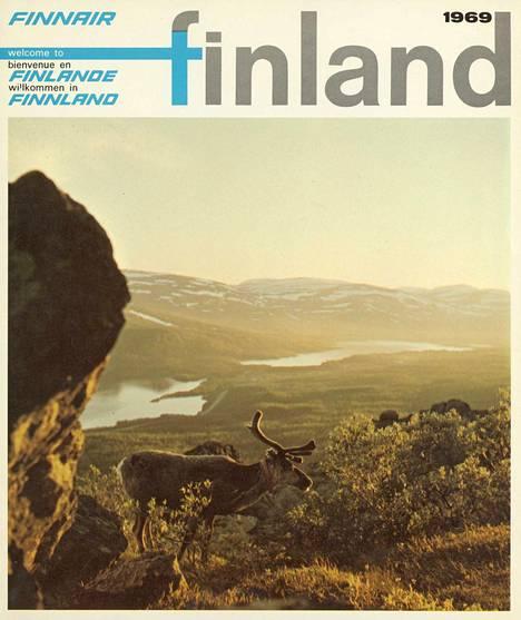 Finnairin matkailumainos Lappiin vuodelta 1969.