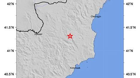 Yhdysvaltain geologian tutkimuskeskuksen kuva näyttää maanjäristyksen paikan.