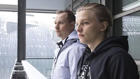 Aleksi Virolainen (etualalla) ja Slaava Räsänen ottivat kaiken irti uransa ensimmäisestä Major-turnauksesta.