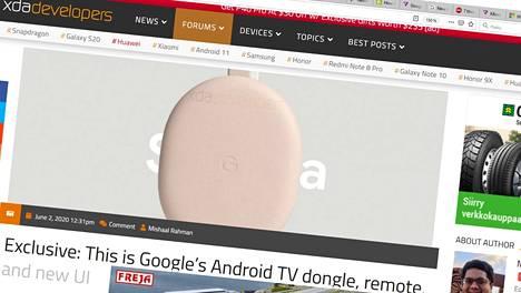 Chromecastin seuraaja vaihtaa muotoa ja pukeutuu muun muassa pinkkiin. Kuvakaappaus Xda-developers-sivustolta.