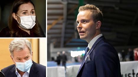 Keskustan varapuheenjohtaja Petri Honkonen kommentoi Sanna Marinin ja Sauli Niinistön tietokatkosta.
