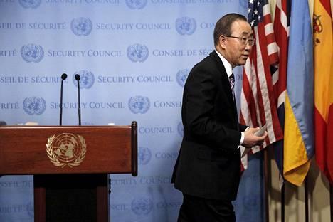 YK:n pääsihteeri Ban Ki-moon piti puheen YK:n päämajassa New Yorkissa keskiviikkona.